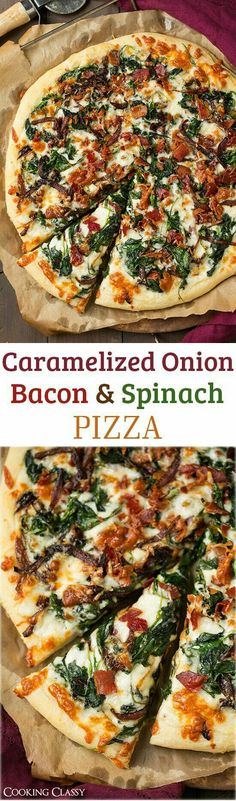 Caramelized Onion Bacon and Spinach Pizza - layered with white sauce mozzarella parmesan crispy bacon fresh spinach and caramelized onions. it is AMAZING! I Love Food, Good Food, Yummy Food, Delicious Recipes, Comida Pizza, Spinach Pizza, Italian Recipes, Cooking Recipes, Gourmet Pizza Recipes