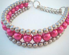La Via en lila collar perla Collar de perro gato collares