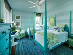 Watery sea glass inspired this kids' bedroom featuring HGTV's June Color of the Month, Paradise Blue. (http://www.hgtv.com/dream-home/hgtv-dream-home-2013-twin-suite-bedroom-pictures/pictures/index.html?soc=Pinterest)