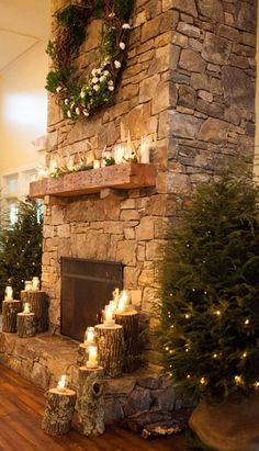 awesome stone fireplace decked out for Christmas!