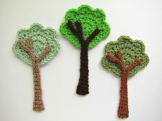 "1pc 6.5"" Crochet TALL TREE Applique"