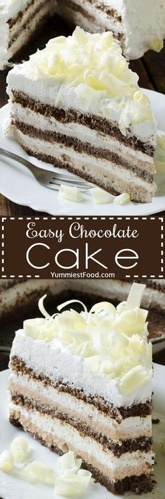 Easy Chocolate Cake - this cake is really the best chocolate cake you'll ever make. Perfect cake for chocolate lovers! So creamy, soft and tasty - Easy Chocolate Cake!