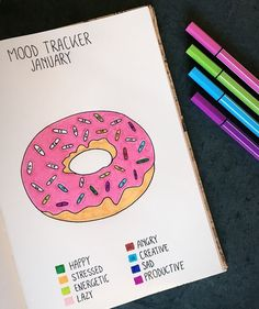 Funniest Mood tracker I've seen yet! Donut shaped mood tracker - Bullet journal by Julie Awouters Bullet Journal Tracker, Bullet Journal Simple, Bullet Journal Notebook, Bullet Journal Aesthetic, Bullet Journal Inspiration, January Bullet Journal, Journal Layout, Journal Pages, Journal Ideas