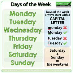 Days of the Week in English: Monday, Tuesday, Wednesday, Thursday, Friday, Saturday, Sunday. (Saturday + Sunday = the weekend) #ESL