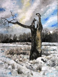 Art  Oil Painting  Original Painting Winter by kezulegsajat