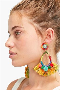 Spring Jewelry Trends, Lemon Yellow Crystal Jewelry for Her, Raw Rough Geode Crystal Stud Earrings, Anniversary Girlfriend Wife, Pastel Gift - Fine Jewelry Ideas Beaded Tassel Earrings, Tassel Jewelry, Big Earrings, Fabric Jewelry, Leather Earrings, Statement Earrings, Fringe Earrings, Jewellery, Diy Fashion Accessories