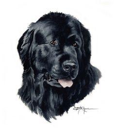 NEWFOUNDLAND Dog Watercolor Painting ART Print by k9artgallery