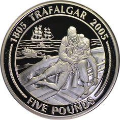 Коллекция монет Tiser'a : Гибралтар 5 фунтов 2005 Серия 200 лет Трафальгарской битвы - Карта места сражения