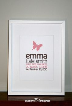 Butterfly Baby Nursery Art Personalized Baby by missprintdesign, $18.00