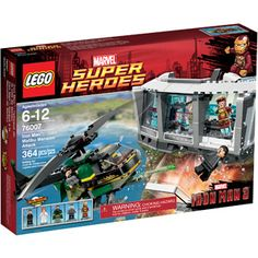Hot New Release! LEGO Super Heroes Iron Man Malibu Mansion Attack - The Mandarin and his Extremis soldier are launching an attack on Tony Stark's Malibu Mansion. Battle their high-tech helicopter's spinning rotors, 4 flick missiles and side-m Toys R Us, Iron Man Suit, Iron Man 3, Tony Stark, Lego Ironman, Lego Hulk, Lego Mansion, Malibu Mansion, Spiderman