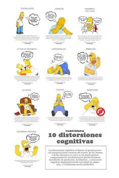 10 distorsiones cognitivas, por Homer Simpson. #psicologiacognitiva #terapia