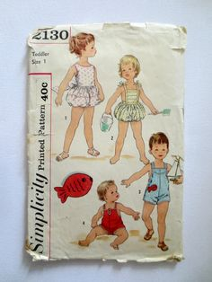 Simplicity 2130 - Toddlers Set of One-Piece Playsuits - Size 1 - Vintage Childrens Sewing Pattern