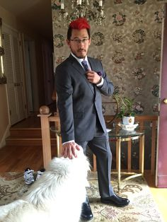 Markiplier going to his friend's wedding (: (and trying to keep the dog hair off haha)