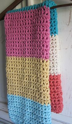 Cotton chunky crochet toddler blanket / throw CANDY by peanuttree on etsy-item sold but like the wide stripes Would be easy to make something similar with large hook and multiple strands.