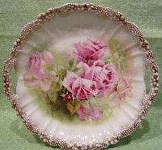 Hand Painted Bavarian German Charger or Cake Plate, After 1880