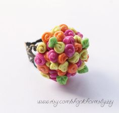 Bunch of Flowers Polymer Clay Ring by CharmsByIzzy on Etsy, $7.25