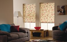 Kimono Red - bringing the outside in with calming teals and warming reds. Blinds For Windows, Roller Blinds, Blinds, Fabric Blinds, Curtains, Home, Roman Shade Curtain, Home Decor, Room