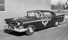 From the through the the Highway Patrol fleet often included a few convertibles, like this 1957 Ford Fairlane Sunliner. We're guessing the ragtops were tabbed mainly for public relations and parade duty. Old Police Cars, Ford Police, State Police, Car Ford, Ford Trucks, Emergency Vehicles, Police Vehicles, Ford Vehicles, Ford Convertible