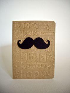 mustache card mustache birthday card happy by JDooreCreations