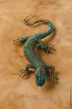 Купить Ящерицы из бисера (брошь, в ассортименте) - ящерица, синий, зелёный, салатовый, голубой, оранжевый, серый