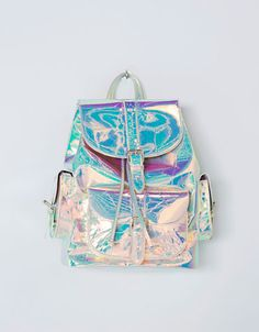Limited Edition backpack with pockets - Accessories - Bershka Slovakia Justice Backpacks, Justice Bags, Holographic Bag, Holographic Fashion, Cute Backpacks For School, Girl Backpacks, Backpack Purse, Mini Backpack, Fashion Bags