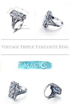 Vintage Triple White Stone Shield Ring