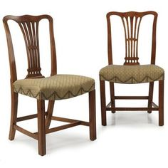 ed50df0c4e3a9 Pair of English Chippendale George III Mahogany Antique Chairs