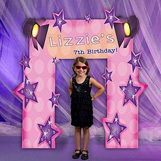 Our Rock Star Diva Arch features a tonal pink polka dot background with purple star accents and stage lights. Best of all, it can be personalized with your own special message.
