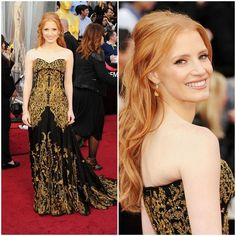 """#1 - Jessica Chastain in Alexander McQueen. Chastain has been a serious case of """"hit or miss"""" this awards season, but for the big night, DEFINITE HIT. The dramatic dress did all the talking, Chastain went ultra light on accessories and her hair down in loose curls. Perfect for the Oscars and one of the biger risk of the night, the newcomer is definitely making her name in Hollywood!"""