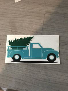 Tourquise Blue Truck Decal With Tree