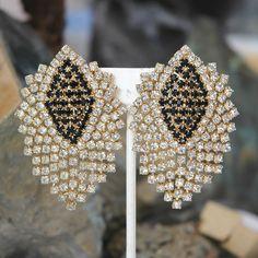 Vintage Hattie Carnegie Mesh Earrings, Houndstooth Check, Black & Crystal Rhinestones, Excellent Condition by VWayne on Etsy
