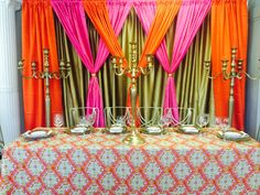 Bollywood Theme. Available at Weinhardt Party Rentals. Pipe and Drape.