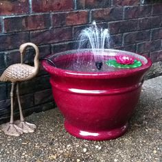 Easy patio fountain project...planter from Tuesday Morning, water pump from Loew's.....agh, then a glass of wine on the patio listening to the relaxing sound of the water. Wine Brands, Wine Delivery, Bucket, Water, Water Water, Aqua, Buckets, Aquarius