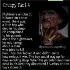 Horror Movie Facts : Nightmare On Elm Street Creepy Facts, Wtf Fun Facts, Freddy Krueger, Short Creepy Stories, Spooky Stories, Ghost Stories, Movie Facts, After Life, Nightmare On Elm Street
