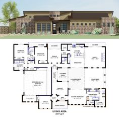 Contemporary Side Courtyard House Plan | 61custom -- covered patio screen that in ASAP!