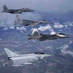 #Repost @usairforce  International #Wingmen!  A four-ship formation consisting of a U.S. Air Force F-15E Strike Eagle from the 494th Fighter Squadron an F-15 Eagle from the 493rd Fighter Squadron an F-22A from the 95th Fighter Squadron and a Royal Air Force Typhoon fly together during a training sortie April 26 2016. 95th FS Airmen and aircraft are deployed from Tyndall Air Force Base Fla. and will be conducting air training exercises with other U.S. and Royal Air Force aircraft over the…