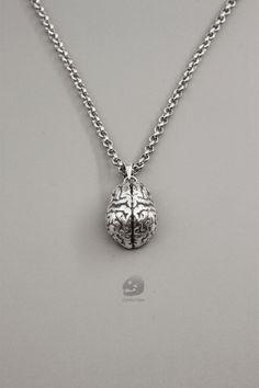 Sterling Silver Brain pendant for the aspiring med student, neurologist, or biologist!