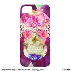 Girly Floral Sugar Skull Cute Pink Teal Flowers iPhone 5 Case