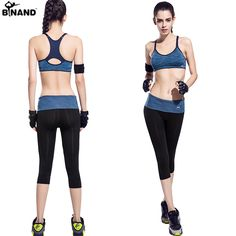 2016 New Women Yoga Fitness Seamless Elasitic Gym Running Sportswear Sets and Jogging Bodybuilding Racerback Suits For Women. >> See even more by clicking the image link Two Piece Jumpsuit, Running Tights, High Waist, Capri, Two Pieces, Patchwork, Space, Suits, Yoga