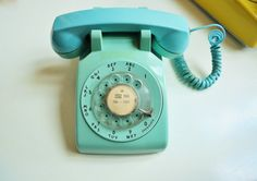 MidCentury Aqua Rotary Telephone by thewhitepepper on Etsy