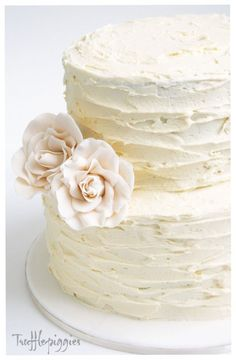 """Rustic Wedding Cake - minus flowers. ribbon second tier. less """"smoothing"""" lines. Plus cupcakes."""