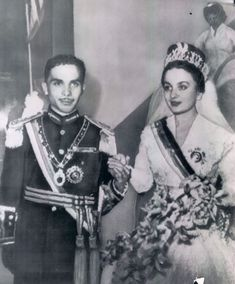 Hussein I of Jordania in his first marriage with Dina bint´Abdu´l-Hamid.1955