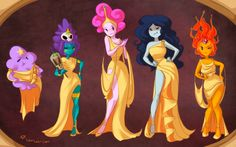 Adventure Time Marceline Princess Bubblegum disney hercules crossover lumpy space princess LSP flame princess laurart jungle princess