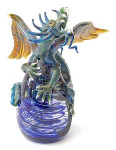 Dragon on Cobalt Egg by Milon Townsend.