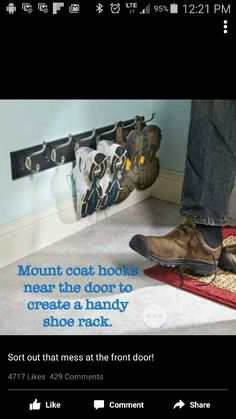 If piles of shoes in your entryway or closets drive you crazy, these smart shoe storage solutions are for you. Find ways to get rid of those shoe piles in your house! Garage Organization, Garage Storage, Shoe Storage By Door, Shoe Storage Narrow Space, Shoe Storage Ideas For Garage, Organization Ideas For Shoes, Shoe Storage Laundry Room, Small Entryway Organization, Small Entryway Decor