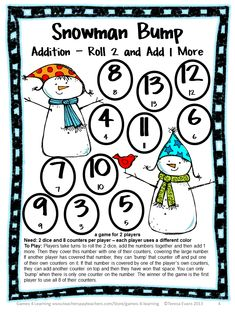 FREEBIE - Addition Bump game from Snowman Math Bump Games Freebie from Games 4 Learning - Perfect for a winter math game or Christmas math game!