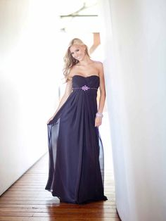 Strapless Chiffon bridesmaid gown with Empire waist