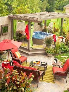 hot tubs and patio ideas - Google Search Outdoor Rooms, Outdoor Living, Outdoor Decor, Outdoor Curtains, Outdoor Tub, Pergola Curtains, Outdoor Retreat, Backyard Retreat, Outdoor Life