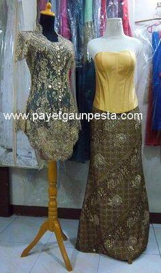 A complete set of Modern Wedding Kebaya in Gold lace and Batik dress