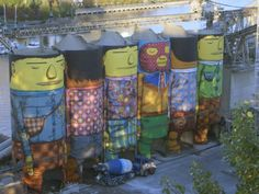 Video: OSGEMEOS MONTECRISTO Magazine interviews international graffiti artists and identical twins OSMEGEOS about their largest mural to date, which is part of the Vancouver Biennale's Open Air Museum. The artwork covers six Ocean Concrete silos on Granville Island in Vancouver, British Columbia.